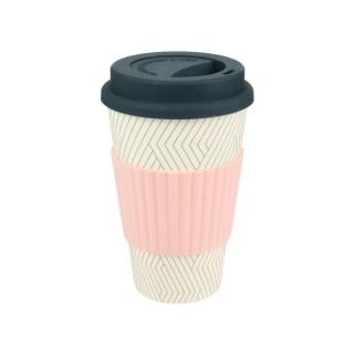 Mug en fibre de bambou - 400 ml - Rose et blanc