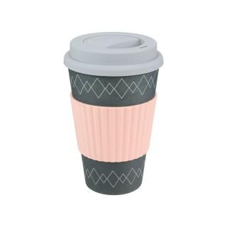 Mug en fibre de bambou - 400 ml - Rose et gris