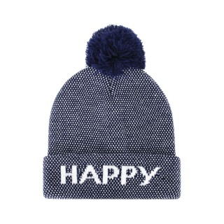 Bonnet à pompon homme - Happy - Bleu