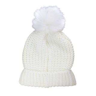 Bonnet femme à pompon - Blanc