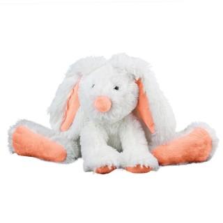 Peluche doudou lapin - H. 25 cm - Orange