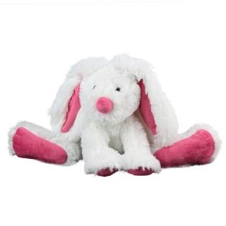 Peluche doudou lapin - H. 25 cm - Rose