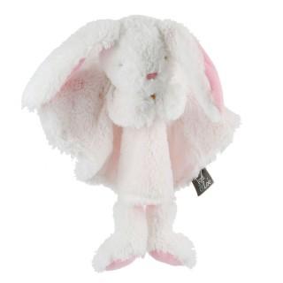 Peluche doudou marionnette Lapin - H. 28 cm - Rose