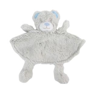 Peluche doudou marionnette Ours - H. 28 cm - Bleu