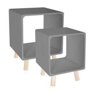 2 Tables de chevet Moderne - L. 35 x l. 35 cm - Gris