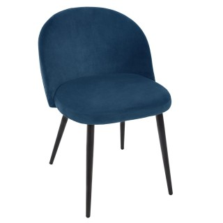 Fauteuil en velours moderne Nael - H. 75,5 cm - Bleu