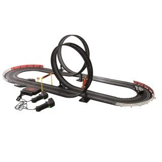 Circuit course électronique - 2 Loopings et 2 Voitures télécommandées - Noir
