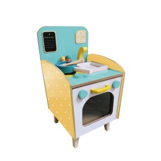Cuisine dinette enfant Vintage en bois - Bleu et jaune