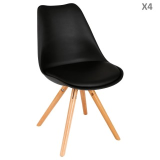 Lot de 4 - Chaise scandinave Raku - H. 44,5 cm - Noir