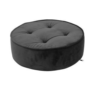 Coussin de sol en velours - Diam. 50 cm - Noir