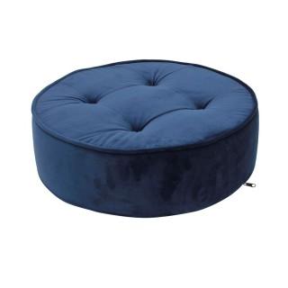 Coussin de sol en velours - Diam. 50 cm - Bleu
