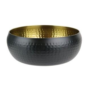 Saladier martelé mat inox - Diam. 18 cm - Noir et doré