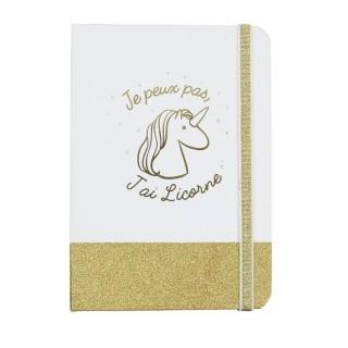 Carnet de notes à paillettes Licorne - Dorée