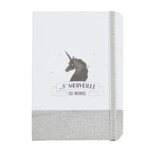 Carnet de notes à paillettes Licorne - Argent