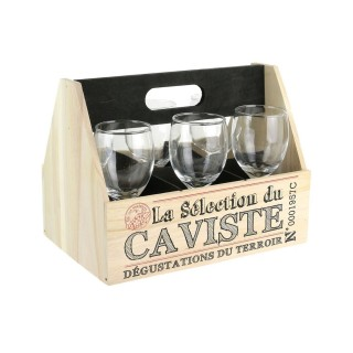 Support à vin et 6 Verres à pied Bistrot - 26,5 x H. 20,5 cm - Noir