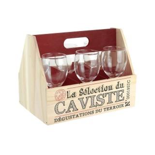 Support à vin et 6 Verres à pied Bistrot - 26,5 x H. 20,5 cm - Rouge