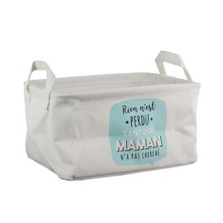 Panier de rangement enfant Maman - 28 x H. 16 cm - Bleu Turquoise
