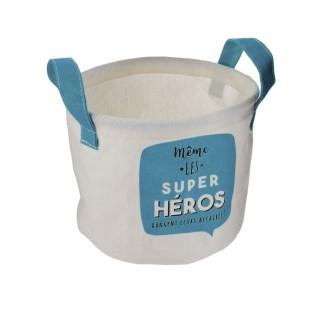 Panier de rangement enfant Héros - Diam. 13 x H. 16 cm - Bleu