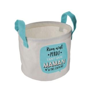 Panier de rangement enfant Maman - Diam. 13 x H. 16 cm - Bleu Turquoise