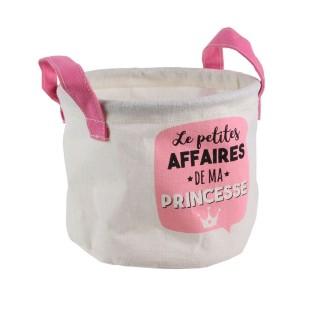Panier de rangement enfant Princesse - Diam. 13 x H. 16 cm - Rose
