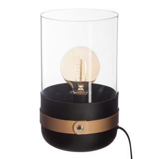 Lampe en verre et cuir Moderne - Diam 15 cm - Noir