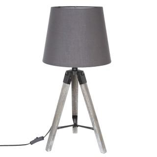 Lampe en bois trépied Runo - H. 58 cm - Gris