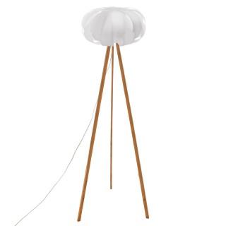 Lampadaire en bambou scandinave Blis - H. 150 cm - Blanc