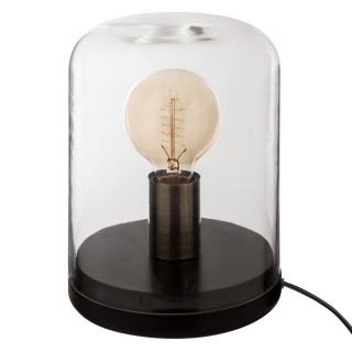 Lampe dôme en bois - Diam. 17 cm - Noir