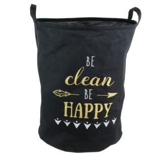 Panier à linge Happy - 40 x H. 50 cm - Noir