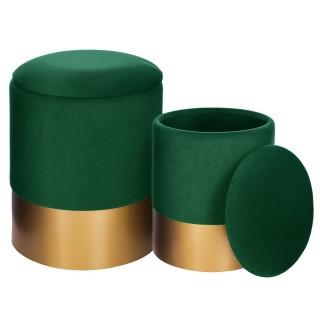 2 Poufs coffres rond Spirit - Diam. 32/36 cm - Vert