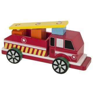 Camion pompier en bois - Rouge