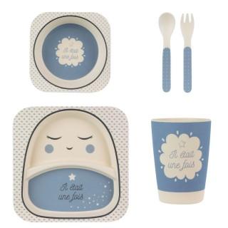 Set de repas enfant en bambou - Bleu