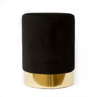 Pouf en velours base métal - Diam. 50 x H. 35 cm - Noir