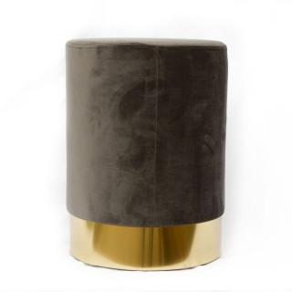 Pouf en velours base métal - Diam. 50 x H. 35 cm - Gris