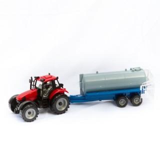 Jouet Tracteur avec remorque cuve - Rouge et gris