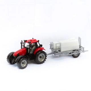 Jouet Tracteur avec remorque cuve - Rouge et blanc