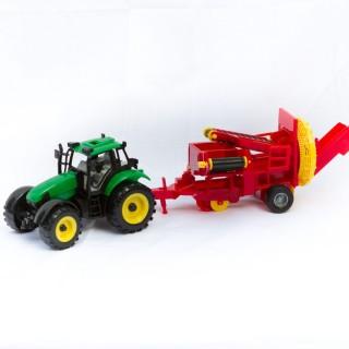 Jouet Tracteur avec remorque - Vert et rouge