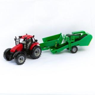 Jouet Tracteur avec remorque - Rouge et vert