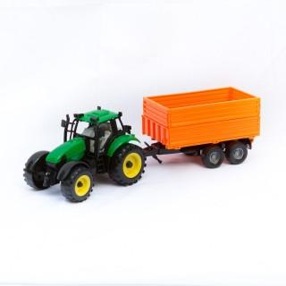 Jouet Tracteur avec remorque - Vert et orange