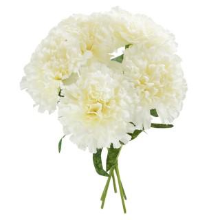 Bouquet artificiel Oeillets - H. 30 cm - Blanc