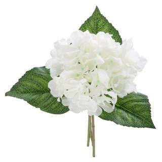 Bouquet artificiel Hortensias - H. 35 cm - Blanc