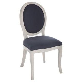 Chaise médaillon Cleon - Lin et bois naturel - Bleu marine
