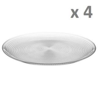 Lot de 4 - Assiette plate Génération - Diam. 27 cm - Transparent