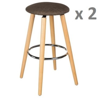 Lot de 2 - Tabouret bar Naor - H. 79 cm - Taupe