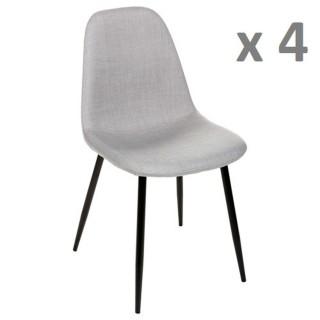Lot de 4 - Chaise Nokas - Pied en métal - Gris