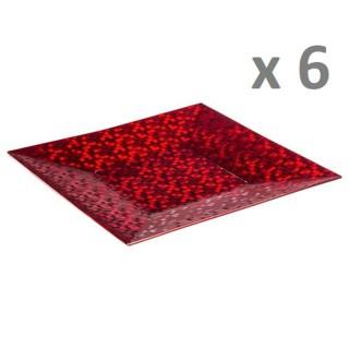 Lot de 6 - Assiette de présentation Pixel - Vaiselle de Noël - Rouge