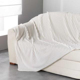 Plaid flanelle jacquard Zeline - 125 x 150 cm - Blanc naturel