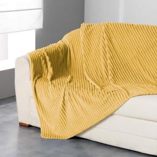 Plaid flanelle jacquard Zeline - 180 x 220 cm - Jaune miel
