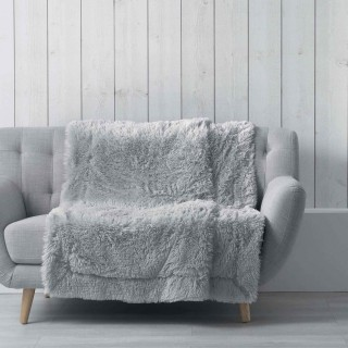 Plaid imitation fourrure Marilou - 125 x 150 cm - Gris