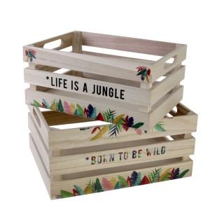 2 Cagettes en bois Exotic - L. 32 cm - Beige